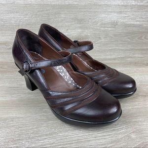 Dansko Becky Mary Jane Brown Leather Heels 6.5-7